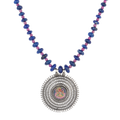 Alicia Blue-Pink Beaded Silver Necklace With Lord Ganesha
