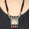 Aashka Green-Red Thread Tribal Silver Necklace With Hand Painted Deity Motif
