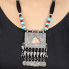 Gracia Red-Blue Thread Silver Necklace With Hand Painted Deity Motif