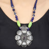Aashita Green-Blue Tribal Silver Necklace With Floral Design