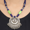 Arhaana Green-Blue Tribal Silver Necklace