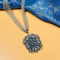 Aishani Long Oxidised Kundan Necklace with Deity Motif