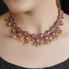 Manika Gold Plated Pink Floral Necklace With Pearls