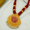 Adya Pink Peacock 24K Gold Plated Pendant Necklace