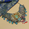 Sherene Oxidised Necklace With Turquoise Beads