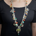 Clara Oxidised Long Beaded Necklace