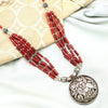 Red Beaded Tribal Silver Necklace