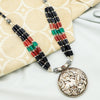 Black Red & Green Beaded Tribal Silver Necklace