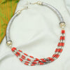 Beaded Tribal Silver Hasli- Necklace