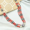 Orange Beaded Tribal Silver Necklace