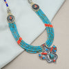 Turquoise- Orange Beaded Tribal Silver Necklace