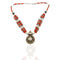 Coral Beaded Tribal Silver Necklace