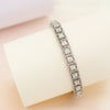 Royal Silver Bangle with Princess Cut Swarovski Zirconia