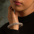 Amelia Silver Bangle with Round Cut Swarovski Zirconia