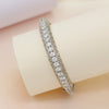 Noble Silver Adjustable Bangle with Round Cut Swarovski Zirconia
