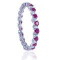 Rhythmic Pink and White Silver Bangle with Grace Cut Swarovski Zirconia