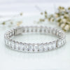 Whopping Silver Adjustable Bangle with Emerald Cut Swarovski Zirconia