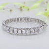 Eloquent Sterling Silver Bracelet with Emerald Cut Swarovski Zirconia
