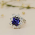 Blue Bloom Silver Ring with Swarovski Zirconia