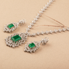 Regalia Elegant Green & White Swarovski Zirconia Solitaire Necklace Set