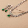Zoira Green & White Pear Shaped Swarovski Zirconia Necklace Set