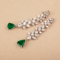 Ananya Green & White Swarovski Zirconia Necklace Set