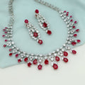 Romantic Red And White Silver Necklace Set with Swarovski Zirconia