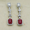 Emerald- cut Drop Silver Danglers with Swarovski Zirconia
