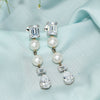 White Drop Danglers with Pearls and Swarovski Zirconia