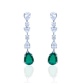 Green Drop Danglers with Swarovski Zirconia