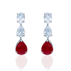 Red Drop Silver Earrings with Mixed Shape Swarovski Zirconia