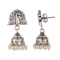 Gloria Peacock Design Silver Jhumkis With Pearl
