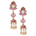 Abha Pink Gold Plated Silver Jhumkis