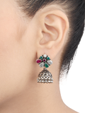 Valencia Green Pink Silver Jhumkis With Crystal