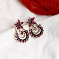 Flora Pink Silver Earrings