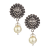 Avantika Tribal Silver Pearl Drop Earrings With Deity Motif