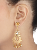 Azeena Gold Plated Kundan Silver Earrings