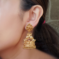 Nemali Red Gold Plated Jhumkis with Peacock Motif