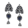Anvika Silver Jhumki with Peacock Motif