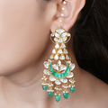 Chhavi Gold Plated Kundan Green Earrings