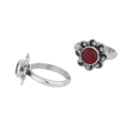 Ahaana Red Silver Floral Toe Ring