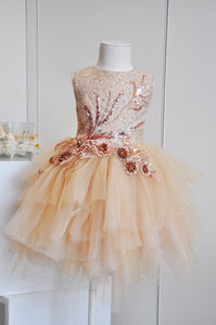 Dreamy Sparkle Blossom Tulle Dress Caramel