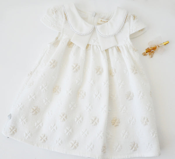 Lucky Clover Baby Doll Dress White & Gold