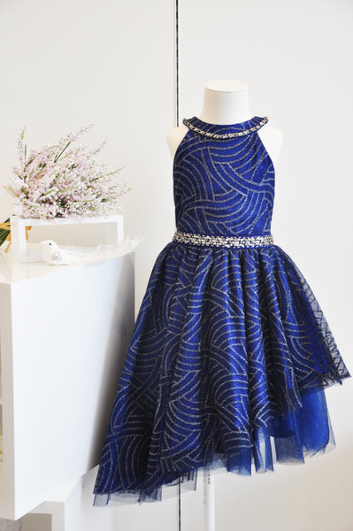 Pattern Slant Halter Dress Royal Blue