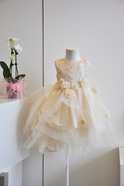 Rosie Bloom Tulle Dress Gold