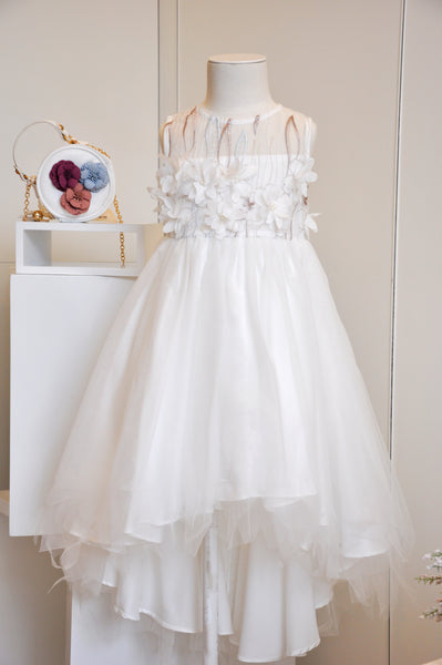 Cotton Floral Tulle Dress White