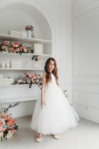 Pearl Floral Vine Tulle Dress White