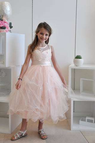 Sweet Floral Vine Tiered Dress Pink