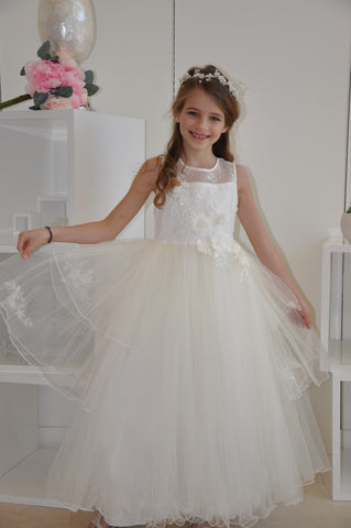 Exquisite Floral Beaded Tiered Tulle Dress White