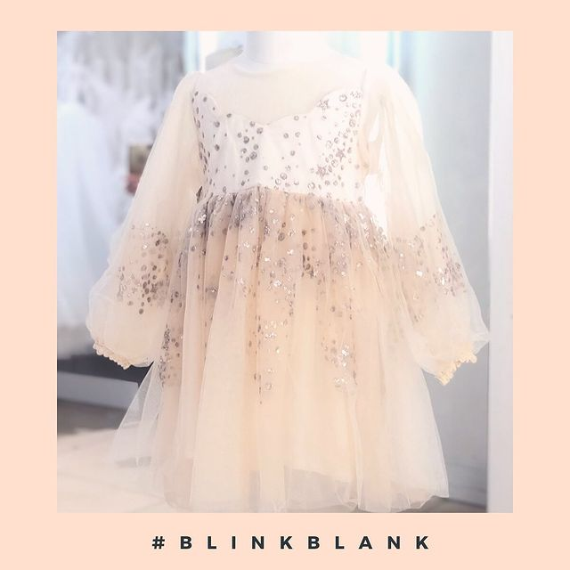 Long Sleeve Sparkle Starry Tulle Dress Beige